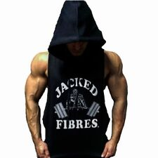 Mens Gym Bodybuilding Singlet Hoodie Sleeveless Muscle Tank Top Weight Lifting