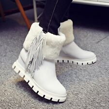 Ladies UK Wedge Heel Round Toe Winter Snow Boots Warm Furry Tassels Shoes Size 6