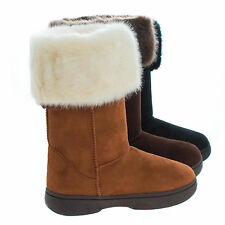 Olaf02K Children's Girl Knee High Foldable Faux Fur Lining Winter Boots