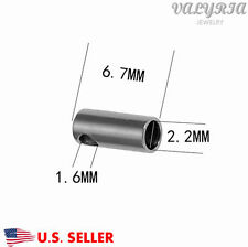 Stainless Steel Cord Barrel Ends Tips Jewelry Findings 6.7x2.7mm 2.2mm Inner Dia