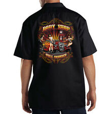 Dickies Black Mechanic Work Shirt Full Service Body Shop Hot Rat Rod Pin Up Girl