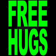 Free Hugs Neon Green Design Funny Party T-Shirt Tee