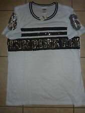 "VICTORIAS SECRET PINK BLING NEW SEQUIN ""PINK86"" SCOOPNECK TEESHIRT NWT"