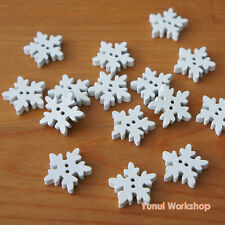 30pcs: Snowflake Motif Wood Buttons with Sewing Holes White 18x18mm Scrapbook