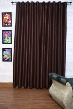 """Brown Faux Silk Curtains, 51"""" (130cm) Wide - Choice of PlainTop, Length, Lining"""