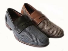 NEW MENS PLAID LOAFERS BOAT SLIP ON LEATHER LINED DRESS SHOE COMFORT / 2 COLORS
