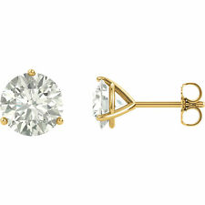 14k Solid Yellow Gold Forever Brilliant Moissanite Martini 3 Prong Stud Earrings