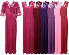NEW LADIES LONG NIGHTDRESS NIGHTIE LOUNGER WOMENS 2PC NIGHTWEAR SET 8-14