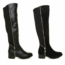 Ladies Knee High Flat Pull On Zip Elasticated stretch Womens Boots Shoes Size