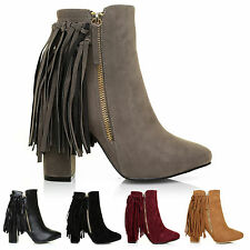 LADIES WOMENS TASSEL FRINGE ZIP SHOES BLOCK HIGH HEEL ANKLE BOOTS NEW SIZE 3-8