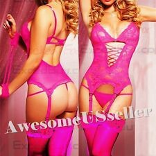 PINK XS-6XL Sexy Lingerie Babydoll Corset+G-string+Handc+Garter+Stocking#58
