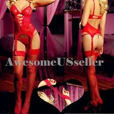 RED XS-6XL Sexy Lingerie Babydoll Corset+G-string+Handc+Garter+Stocking#58