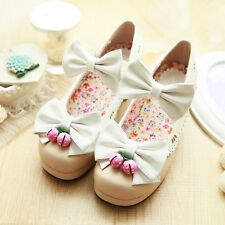 Chic New Womens Mary Jane Lolita Buckle Sweet Bowknot Floral Pumps Shoes Plus Sz
