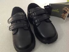 BNWT TODDLER BOYS GROSBY VELCRO BLACK LEATHER SHOES SIZE 5 6 or 7 NEW