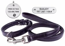 Black Leather Dog Collar Leash Set Personalized ID Tag Soft Padded Small Medium