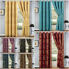 Luxury Eyelet Jacquard Curtains,Ring Top,Matching Cushion Cover,2 free tie backs