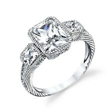 Sterling Silver Bridal CZ Engagement Wedding Ring Cubic Zirconia Radiant Cut