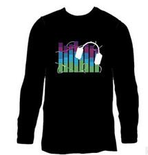 Black Men's Long Sleeve Clubbing Light Up Sound Activated LED T-Shirt Cloth NEW