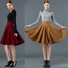 Women High Waist Wool Winter Maxi Full Circle Midi Skirt Hepburn Ball Gown Dress