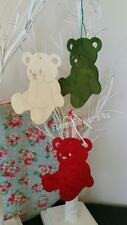 Large Bear Wooden Shapes Crafts, Gift Tags, Christmas Tree Decoration Green Red