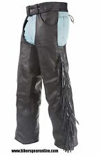 MEN'S MOTORCYCLE BLACK LEATHER RIDING CHAP PANTS BRAIDED & FRINGES COW LEATHER