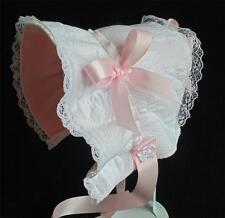 New Handmade White Cotton Fleece Lined Cold Weather Baby Bonnet