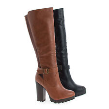Gabby09 Knee High Lug Sole High Stacked Heel Riding Boots