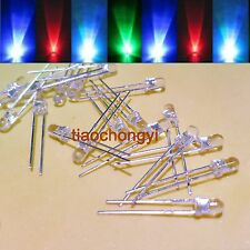 10 -1000pcs 3mm fast Flash /Slow Flash RGB Rainbow MultiColor Red Green Blue LED