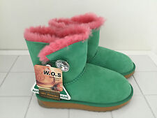 GENUINE SHEEPSKIN UGG BOOTS One Button Green / Pink Colour Australian Made