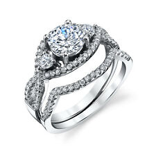 925 Sterling Silver Bridal CZ Engagement Wedding Ring Set with Matching Band