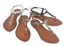 New Womens Colors Faux Stone Roman Gladator Thong Flat T Strap Sandals, Sizes