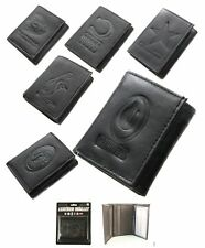 NFL Team Black Tri-Fold Embossed Leather Wallet -You Choose Your Team Many Teams