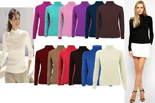 New Womens Acrylic Knitted Skinny Ribbed High Polo Neck Warm Ladies Jumper Top