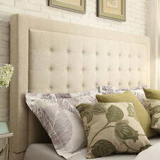 Upholstered Headboard Button Tufted Linen Contemporary Design -  Beige