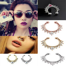 1Pc Fake Septum Clicker Crystal Nose Ring Non Piercing Hanger Clip On Jewelry a