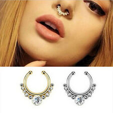 1Pc Fake Septum Clicker Crystal Nose Ring Non Piercing Hanger Clip On Jewelry e