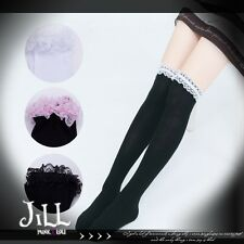 Lolita cartoon princess diary ruffle lace trim knee high dolly socks J1I7007
