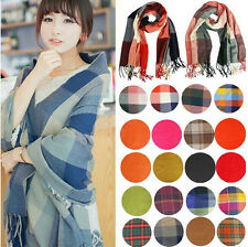 Women Winter Warm Soft Artificial Wool Scarf Plaid Knit Long Scarf Wrap Shawl