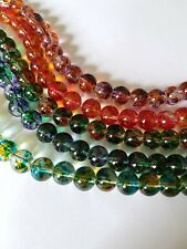 25 x Transparent Mottled Effect Glass Beads - Round - 10mm [Various Colours]