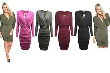 New Womens Wrap Over Side Gathered Ruched Stretched Slinky Bodycon Party Dress