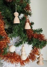HAND MADE UNPAINTED WOODEN X-MAS TREE ASSORTED ORNAMENTS PICK YR DESIGN H-3-4''