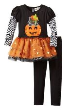 Rare Editions Halloween Cat in Pumpkin TuTu Skirted Top and Legging Set