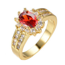 Wedding Ruby Rings 6*8MM Red Garnet  Women's 14KT Yellow Gold Filled Anniversary