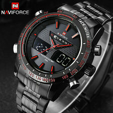 NAVIFORCE Mens Military Army Sport Full Stainless Steel LED Digital Analog Watch