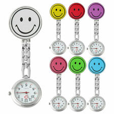 Smile Face Nurse Fob Watch Clip Watch Medical Use Pocket Quartz Clasp Watch EA