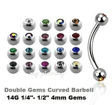 "1pc.14g~1/4""-1/2"" 316L Double Gems Curved Eyebrow Barbell Tragus Helix Cartilage"