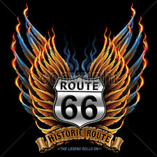 Historic Route 66 Road Sign Angel Wings Americas Highway T-Shirt Tee