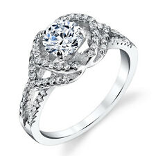 925 Sterling Silver CZ Engagement Wedding Ring Set with 1 Carat Cubic Zirconia
