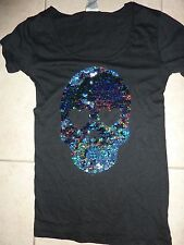 "VICTORIAS SECRET PINK BLING BLING SEQUIN SKULL""PINK"" SCOOPNECK TEESHIRT  NWT"