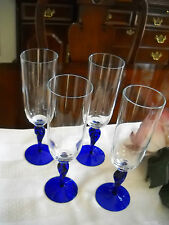 4 Cobalt Blue Twisted Stemmed With Clear Top Fluted Champagne Wine Glasses